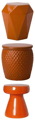 Orange Garden Stool | Orange Ceramic Stools | Orange Porcelain Stool |  Orange Ceramic Stool |