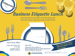Business Etiquette Lunch Campus Involvement - Dining room etiquette