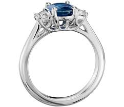 Sapphire And Half Moon Shaped Diamond Ring In 18k White Gold