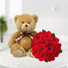 valentine gift flowers with cake and teddy bear size 60 cm 22