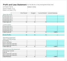 Profit And Loss Statement Template In Excel Recent Sample Form ...