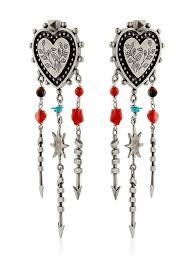 valentino santeria heart chandelier earrings multi silver women fashion jewelry valentino sandals valentino