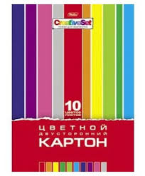 Цветной <b>картон</b> двусторонний <b>Creative Set Hatber</b>, A4, 10 л., 10 цв.