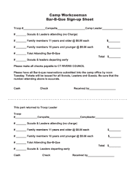 How To Make A Signup Sheet Fillable Online Bar B Que Sign Up Sheet Fax Email Print