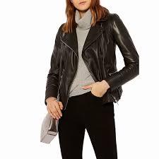 karen millen strong shoulder leather biker short long sleeve jacket black