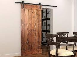 Traditional Dining Room Decor with Rustic American Country Sliding Barn Door,  Reclaimed Oak Wood Door