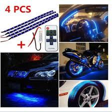 Car Atmosphere Light Price Universal 4pcs 30cm Blue Led Light Wireless Remote Control