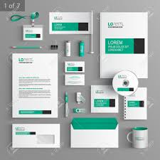 Design Corporate White Classic Corporate Identity Template Design With Green And