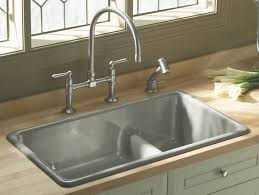kitchen white square sink with vintage choper faucet of