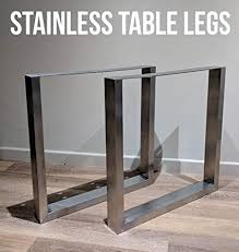 Steel table legs Industrial Brushed Stainless Steel Table Legs Retro Designer Desks Dining Tables Live Waney Edge Wood Amazoncouk Diy Tools Amazon Uk Brushed Stainless Steel Table Legs Retro Designer Desks