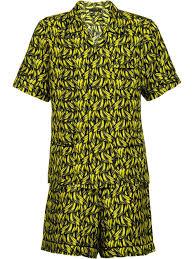 Mens Designer Loungewear Clothing Prada Short Silk Twill Pajamas Yellow Pajamas Mens