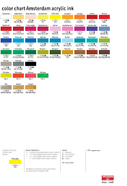 Atelier Acrylic Colour Chart Royal Talens Amsterdam Acrylic Paint Color Chart In 2019