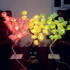 details about romantic rose tree table lamp 24 led flower desk lights home decor holiday gift