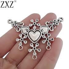 ZXZ <b>2pcs</b> Antique Silver Tone <b>Large</b> Tribal <b>Ethnic</b> Boho Flower ...