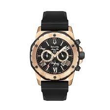 men s bulova watches h samuel bulova men s rose gold stainless steel black strap watch product number 1013076