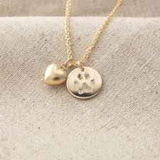 your pet s actual paw print pendant and puffed heart charm necklace in 14k yellow gold fill or sterling silver custom pet memorial jewelry