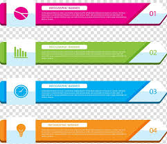 Four Assorted Color Banners Illustration Web Banner Chart