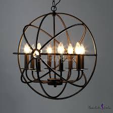 orb light chandelier industrial led orb chandelier in black with globe cage 8 light 5 light