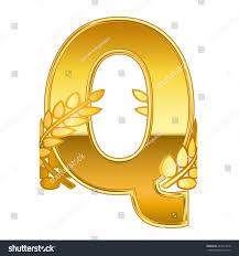gold alphabet letter Q with gold leaf icon