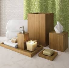 bathroom decor accessories. Bamboo Bathroom Accessories: Note The Pairing With Sage Fabrics. Decor Accessories Pinterest