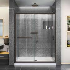 infinity z 32 in x 54 in semi frameless sliding shower door