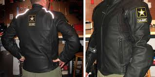 power trip u s army blackhawk leather motorcycle jacket fit and reflective striping