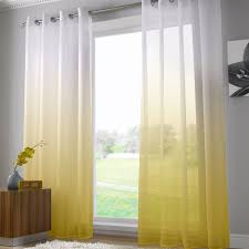 harmony modern ring top voile curtain panel yellow