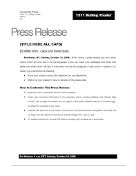 Press Release Templet Rolling Thunder Press Release Template