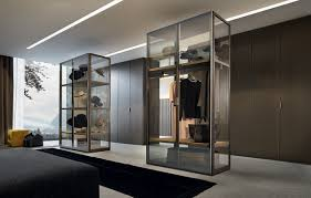 large bedroom interior with contemporary glass walk in closet also tempered glass display case