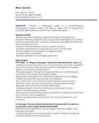Marketing Manager Resume Objective Statement Examples Project