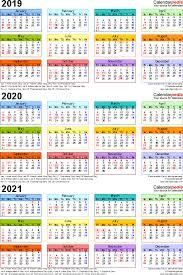 Calender Yearly 2019 2020 2021 Calendar 4 Three Year Printable Pdf Calendars