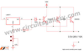high current adjustable power supply circuit using lm317 high current variable power supply circuit diagram