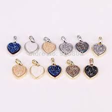 10pcs zyz294 9868 titanium natural stone heart shape crystal quartz pendant charms for making diy