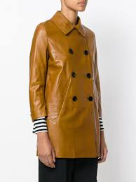 marni brown leather pea coat lyst view fullscreen