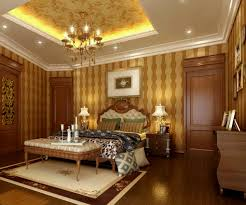 Interior:Luxury Master Bedroom With Glowing Deep Tray Ceiling Design Also  Striped Wallpaper Luxury Master
