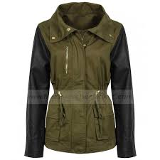 womens military green jacket with leather sleeves zoom womens