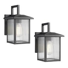 Wall Mounted Lights Emliviar Exterior Wall Sconces 2 Pack 1 Light Outdoor Wall Mount Lights Black Finish With Clear Ribbed Glass Os 1803bw3 2pk