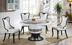 modern dining room furniture. Dining Room Modern Round Marble Table For 4 Chairs Above Gloss White Ceramic Floor Beside Lamp Around Wall Interior Decor The Furniture
