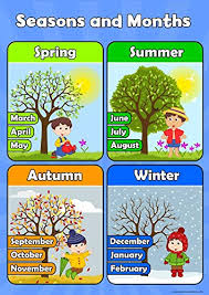 Childrens Dvd Chart Seasons And Months Learn Childrens Wall Chart Educational Numeracy Childs Poster Art Print Wallchart
