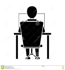 Laptop Chair Desk Silhouette Guy Back Working Laptop Chair Desk Stock Vector Image