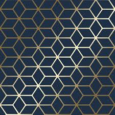 Blue And Gold Design Cubic Shimmer Metallic Wallpaper Navy Blue Gold