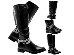 womens knee high faux leather boots las faux leather biker boots shoes size