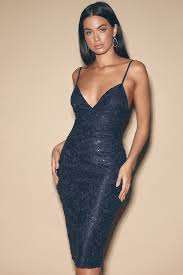 Cassius <b>Navy Blue Sequin Lace</b> Bodycon Midi Dress $58$46