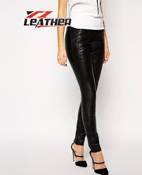 more views real leather pants for women