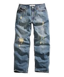 Tin Haul Blue Heavy Distressed Hoss Loose Fit Jeans Men