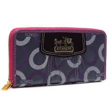 Coach Waverly In Signature Large Purple Wallets BCZ