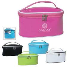 bulk personalized cosmetic bags pink light blue white black or lime green