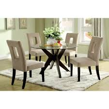 glass dining table black legs. dining room. . round glass table on brown wooden legs plus white chairs with black t