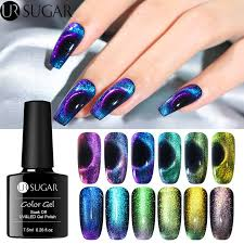 <b>UR SUGAR 7.5ml</b> 9D <b>Cat</b> Eye Nail Gel Polish Chameleon Magnetic ...
