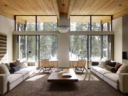 Modern eco homes with wooden ceiling, wood wall panels and furniture